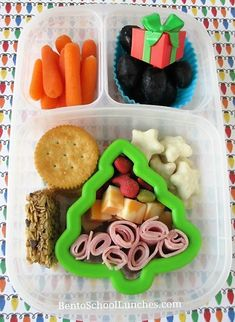 Christmas Tree Bento. Lunchables style lunch  with a tree cookie cutter as separator.