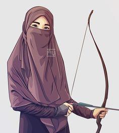 Hijab&Cadar so cool. Anime Muslim, Muslim Hijab, Beautiful Muslim Women, Beautiful Hijab, Hijabi Girl, Girl Hijab, Niqab, Vector Character, Karton Design