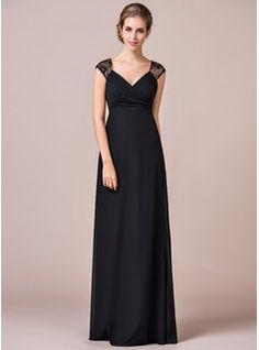 Empire V-neck Floor-Length Chiffon Lace Bridesmaid Dress With Ruffle (007056819) - JJsHouse