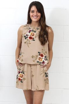 Hello, gorgeous! This romantic floral print romper made our hearts skip a beat! Features a flutter style top that is fully lined, elastic waistband, and an open, flutter back with keyhole. Taupe in color. Tank style. Loose fit. Pockets in front. Shorts are fully lined.