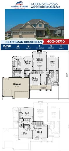Get to know Plan 402-01716, a perfect design for your family! This Craftsman plan gives your family 2,690 sq. ft., 4 bedrooms, 2.5 bathrooms, a covered porch, a kitchen island and an open floor plan.