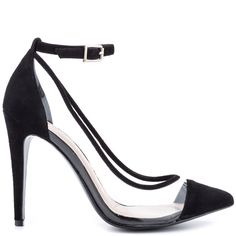 Play peek a boo with this sleek style by BCBGeneration.  The Cynthia features clear synthetic sides with black suede piping, upper and pointed toe.  An adjustable ankle strap and 4 1/2 inch stiletto heel completes this mysterious look.