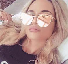 Women 6 Colour Luxury Flat Top Cat Eye Sunglasses Women Twin Beam Sunglasses Double-Deck Alloy Frame UV400 M195