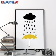 AFFLATUS Canvas Painting Nordic Modern Rain Weather Wall Art Painting Canvas Poster Prints Wall Picture Kids Room Home Decor  #Affiliate