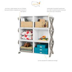 Twins to the stacking dressers (minus the drawers), the campaign stacking cubby can fit baskets! Stack them high or keep them low— your choice. (select quantity in Cart)