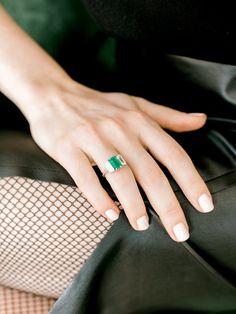 Emerald Cut Emerald & Diamond Engagement Ring | Victor Barbone