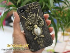 Black Hard Case Cover With Big Crytal Cute Owl Branch by moonboat, $9.99