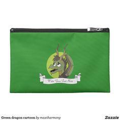 Green dragon cartoon travel accessory bag