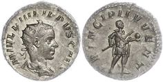244-249, Antoninian, Philippus I. Arabs for Philippus II. . Bust with aureole to the right. Philippus II., with Globe and sceptres to the right. 3.88g, RIC 216c, Cohen 54, very fine to extremly fine.    Dealer  Dr. Reinhard Fischer Auktionen    Auction  Minimum Bid:  30.00EUR