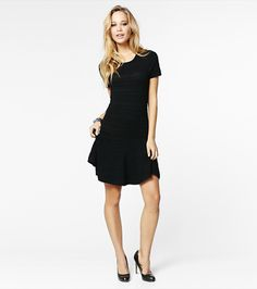 Pintuck Flared Sweater Dress