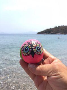 Hand Painted Stone Owl, Owl Pebble, Beach Pebble, Decorated Beach Pebble, Caribbean Beach Pebble, Owl Decor, Handmade