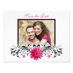 Pink Gerbera Black White Floral Save the Date Card Custom Invites