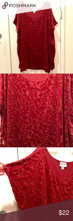 Beautiful burgundy Ava & Viv holiday top Very classy/dressy holiday top from Ava & Viv. Rich burgundy color with velvet layered front with floral pattern; super soft. Perfect for the holidays! Polyester/nylon/spandex Ava & Viv Tops