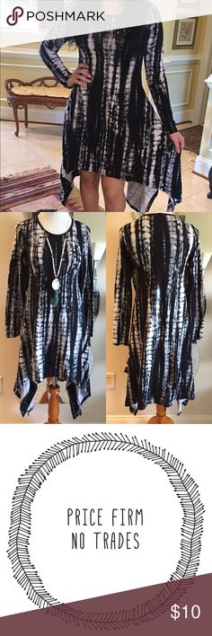 Asymmetrical Tie Dye Dress Brand new asymmetrical black and white tie dye dress | long sleeves made of polyester/ Lycra blend. NWOT RETAIL.  PRICE FIRM - NO TRADES Dresses Asymmetrical