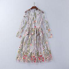 Runway Dresses 2016 Gorgeous Gray Long Sleeves Sheer Mesh Embroidery Bohemian Brand Style Vestidos De Festa 92706