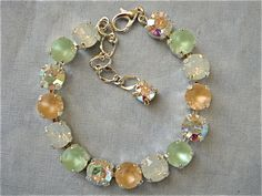 Swarovski Minty Peach Swarovski Crystal Bridesmaid Tennis Bracelet