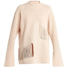 Stella McCartney Shredded-panels oversized sweater (34,525 PHP) via Polyvore featuring tops, sweaters, pink oversized sweater, stella mccartney, cropped sweater, cut-out crop tops and stella mccartney sweater