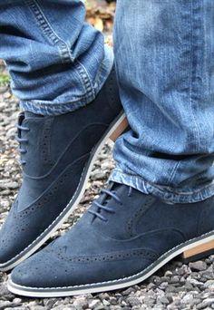 ASOS Mens Brogue Shoes Blue Suede