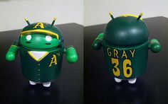 Louis Gray, Googler and well-known blogger, was gifted with a custom Android figurine for his 36th birthday last week.  The Android figurine is designed in the Oakland Athletics design with his name a