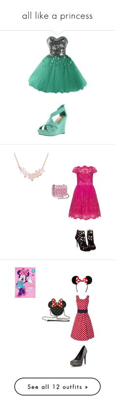 """""""all like a princess"""" by sbrewed ❤ liked on Polyvore featuring Top Moda, Miu Miu, Disney, Michael Antonio, Alice + Olivia, Yves Saint Laurent, Pierre Cardin, JustFab, Delicious and 1st & Gorgeous by Carolee"""