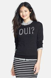 Halogen® 'Oui' Zip Back Crewneck Sweater (Regular & Petite)