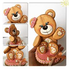 Bear Cookies, Fancy Cookies, Cute Cookies, Teddy Bear Cakes, Paint Cookies, Cookie Favors, Cake Boss, Holiday Cakes, Birthday Cookies
