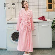 Women Warm Robe Flannel Long Velour Bathrobe Pyjamas Kimono Robe Sleepwear Bath  Robe Peignoir Home Clothing Home Towel Robe -in Robes from Women s Clothing  ... d4cfde29c