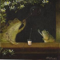 "The Canvas Menagerie ""The Bubble Blower"" (after 'Soap Bubbles' Jean-Baptiste-Simeon Chardin, c. x on stretched cotton-duck. Arte Peculiar, Arte Obscura, Frog Art, Frog And Toad, Oui Oui, Whimsical Art, Animal Paintings, Aesthetic Art, Dark Art"