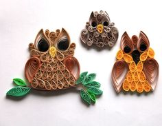 Set of 3 Quilled Owl Card or Scrapbook Embellishment. $6.00, via Etsy.