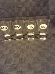 Set Of 4 Clear Glass Word Saying Shot Glasses College Drink Liquor Fun Party