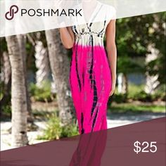 Beautiful multicolored maxi dress💕 Pink white & black beautiful maxi dress with a fabulous design and braided empire waist! Worn Once from Venus Dresses Maxi