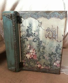 Journal Covers, Art Journal Pages, Pretty Storage Boxes, Scrapbook Cover, Burlap Signs, Tole Painting Patterns, Decoupage Box, Tuscan Decorating, Rustic Art
