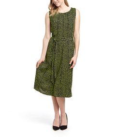 Look what I found on #zulily! Black & Mint Dot Midi Dress #zulilyfinds