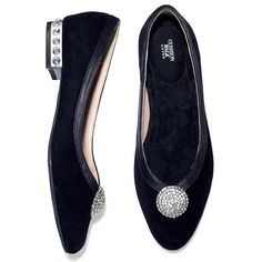 Fa-la-la fancy! Genuine suede flats with a jeweled heel and a jeweled disc on the front. Cushion Walk® footbed for ultimate comfort.