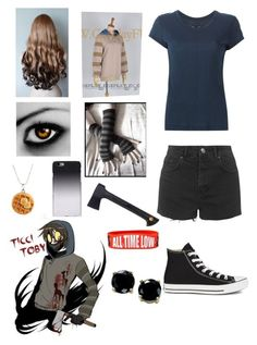 """""""Creepypasta: Daughter of Ticci Toby"""" by ender1027 ❤ liked on Polyvore featuring rag & bone, Topshop, Converse, Fiskars, C6 and B. Brilliant"""