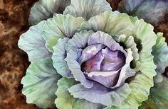 Colorful Cabbage Image Size x Watercolor This started out as a poured painting. I poured about 3 layers and then remov. Watercolor Fruit, Watercolor Leaves, Watercolor Drawing, Painting & Drawing, Watercolor Paintings, Watercolours, Botanical Art, Botanical Illustration, Vegetable Painting