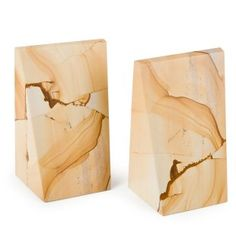 Triangle Natural Marble Bookends - Professional Bookends at Just Bookends