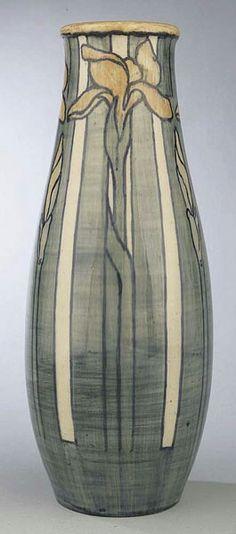 ~Newcomb~Artist: Marie de Hoa Le Blanc~Circa 1903~Long Stem Irises-High Glazed Vase~