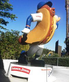 FARMER JOHN® DODGER DOG® #FJlovesLA Let's Go Dodgers, Dodger Stadium, World Famous, Farmer, Your Photos, Instagram Posts, Statue, Dogs, Blue