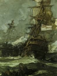 illustration by Frank Brangwyn – an Anglo-Welsh artist, painter, water colourist, virtuoso engraver and illustrator, and progressive designer. Wind Pictures, Sea Pictures, Bateau Pirate, Old Sailing Ships, Nautical Art, Sailboat Art, Sailboat Painting, Sailboats, Navy Ships