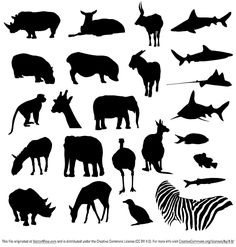 A free collection of vector animal silhouettes, featuring a range of land based mammals alongside some aquatic life.  As always, feel free to download and use in your personal or commercial projects.
