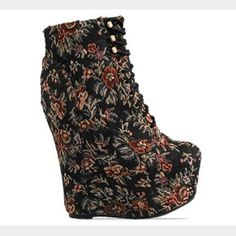 """Jeffery Campbell tapestry damsel wedge size 6 Jeffery Campbell original box included with purchase. Worn a handful of times it is still in excellent condition. Very unique and extreme wedge 5"""" ! NO TRADES! Jeffrey Campbell Shoes Wedges"""