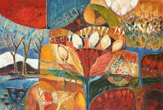"""Natural World: Tapestry of Seasons"" by Sandipa - mixed media on canvas, 72 x 108 cm"
