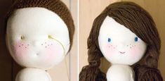 Crocheted wig cap. String the doll's hair through holes in the cap.