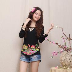 Mandarin Style Modern Scoop Neck Shirt - Black - Chinese Shirts & Blouses - Women