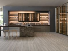 Enhance Your Senses With Luxury Home Decor Luxury Kitchen Design, Kitchen Room Design, Contemporary Kitchen Design, Luxury Kitchens, Home Decor Kitchen, Kitchen Living, Interior Design Kitchen, Kitchen Furniture, Home Kitchens
