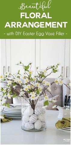Learn how to make this GORGEOUS quick 10 minute floral arrangement with DIY Easter Egg vase filler! So pretty for a Spring and Easter dining table, kitchen island or coffee table vignette. Budget friendly wedding centerpiece as well.