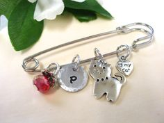 Personalized Jewelry Cat Shawl Pin Personalized by CharmAccents