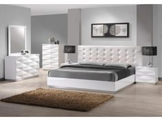 White Leather Bedroom Furniture Mirrored Contemporary