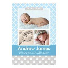 "Photo Birth Announcement | Modern Pattern Baby Boy 5"" X 7"" Invitation Card"